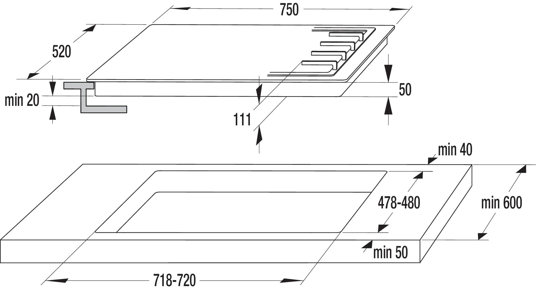 Схема встройки варочной панели фото 82