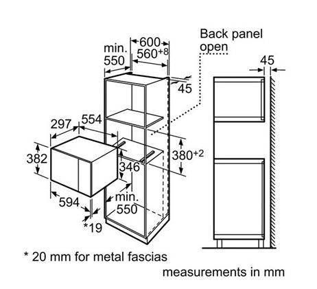 Встраиваемая микроволновая печь fw77sstr схема встраивания